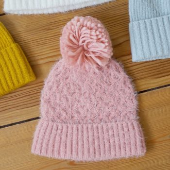Womens Pink Knit Beanie Hat