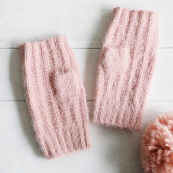 Ladies Pink Soft Knit Gloves