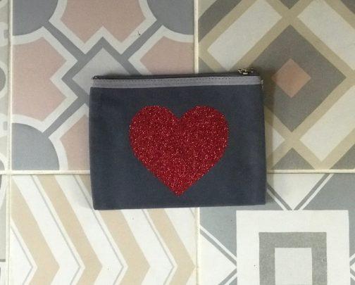 heart glitter pouch