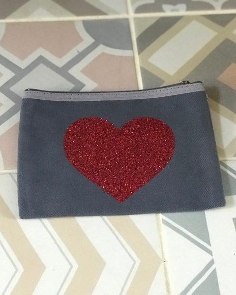 Handmade Pouch – Glitter Heart Purse