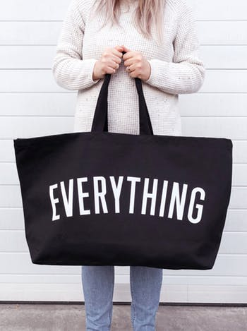 really big EVERYTHING canvas bag in black