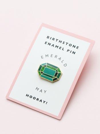 May birthstone emerald pin