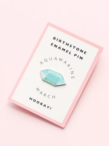 aquamarine march birthday enamel pin