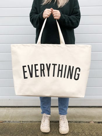 white really big everything canvas bag