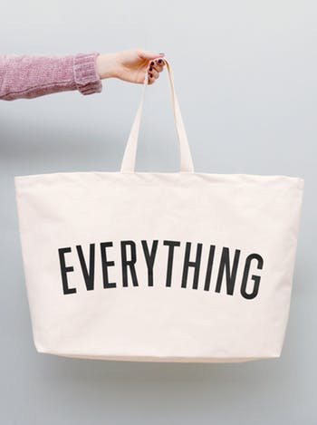 really big everything canvas bag in white