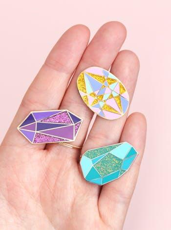 amethyst design enamel pin
