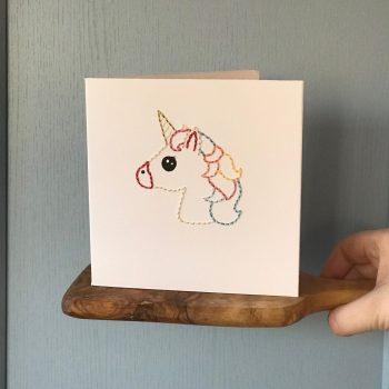Handmade Rainbow Unicorn Card with Spacemask