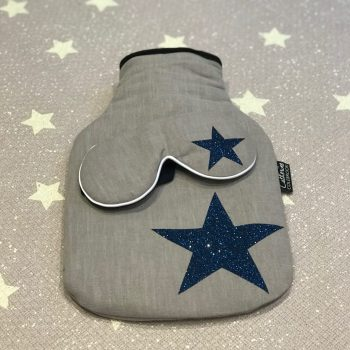 Blue Glitter Star Hot Water Bottle & Lavender Eye Mask