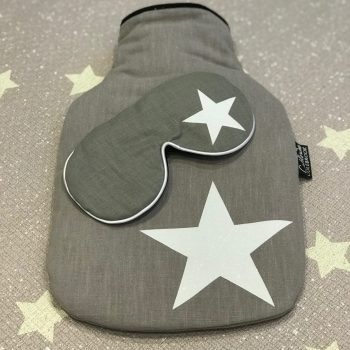 White Glitter Star Hot Water Bottle & Lavender Eye Mask